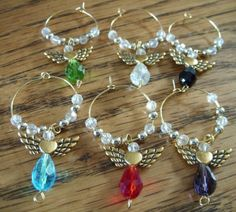 6 multicoloured and gold crystal angel wine glass charm ring DIY assembly kit | eBay