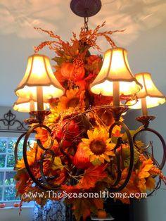 A versatile chandelier idea for Fall - Halloween - Thanksgiving.  Details on The Seasonal Home.com website