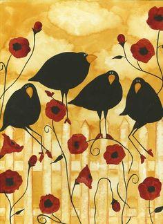 Poppy Flowers Crow Blackbird Raven Debi Hubbs Folk Art Whimsical Garden Look sister dear, poppies for you and ravens for me. Illustrations, Illustration Art, Arte Popular, Naive Art, Whimsical Art, Bird Art, Crow Art, Garden Art, Garden Painting