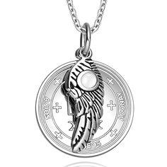 Archangel Raphael Sigil Amulet Magic Powers Angel Wing Charm White Cats Eye Pendant 18 Inch Necklace