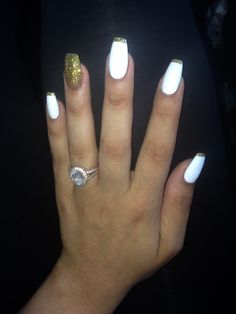 Crisp Matte White Coffin Nails trimmed with Gold Glitter
