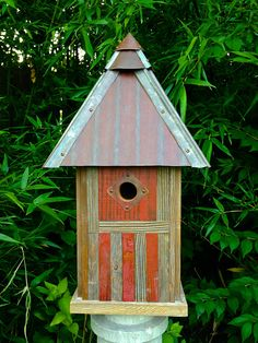 The Americana: Arts and Crafts/Mission Style Birdhouse Made of Reclaimed Barn Wood and Metal--MADE TO ORDER on Etsy, $185.00