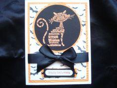 embossed halloween cards | Handmade Halloween Card Stampin Up Frightening Feline Orange Cat with ...
