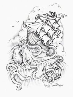 Kraken attacking ship sketch by Kirsty Noelle Davies. Most popular tags for this image include: