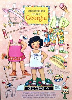 Mary Engelbreit - Ann Estelle's Friend Georgia - Paper Doll Sheet Uncut Mary Engelbreit, Georgia, Paper Art, Paper Crafts, Diy Paper, Vintage Paper Dolls, Paper Toys, Doll Toys, Puppets