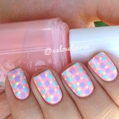 pink, blue and purple polka dots - nail art #nailart