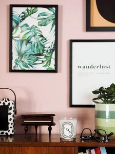 Home decor inspiration: pink walls, gallery wall. Pink home decor. Millennial pink home. Unique Candle Holders, Unique Candles, Decorating Tips, Decorating Your Home, Pink Home Decor, Home Decor Inspiration, Life Inspiration, Inspirational Wall Art, Pink Walls