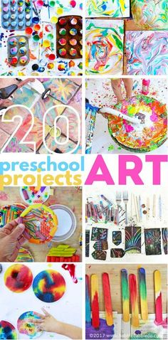 20 Preschool Art Projects: Colorful and engaging art project for preschool aged children! Art Videos For Kids, Art And Craft Videos, Art For Kids, Art N Craft, Kid Art, Preschool Art Activities, Kindergarten Art Projects, Cool Art Projects, Arts And Crafts Projects