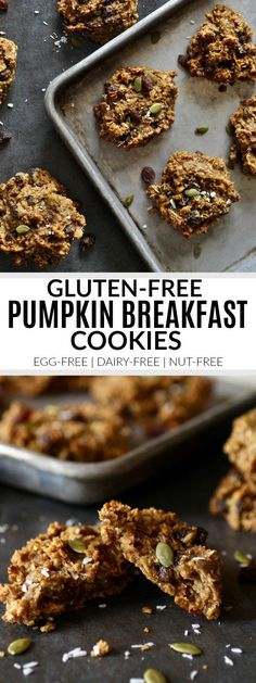 Gluten-Free Pumpkin Breakfast Cookies For Breakfast? Truly, Please A Kid and Mom Approved Recipe. This Grab and Go Breakfast Is Gluten-Free And Delicious. The Real Food Dietitians Dairy Free Breakfasts, Gluten Free Recipes For Breakfast, Homemade Breakfast, Brunch Recipes, Camping Recipes, Healthy Breakfasts, Breakfast And Brunch, Paleo Breakfast, Breakfast Bites