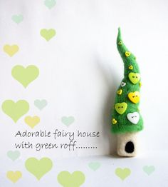 Adorable fairy house with green roof - the needle felted brooch