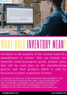 Inventory is the quantity of the current stock of a manufacture or retailer. This can include raw materials, Work-in-progress goods, product parts that will be used later in the manufacturing process and final products which is sold by businesses in order to generate revenue. Sales Crm, Sales And Marketing, Raw Materials, Being Used, Periodic Table, Software, Business, Things To Sell, Products