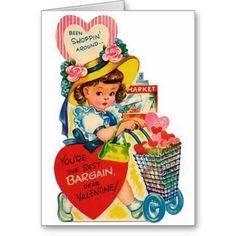 Vintage Bargain Shopper Valentine's Day Card