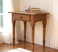 Whitaker Bedside Table, Rustic Pine finish - NO LONGER SOLD.   Like: looks like an antique pine side table w/ 1 drawer to hide junk.