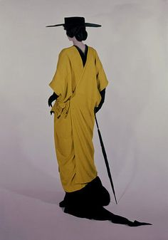 Paul Poiret (born 1879 - died 1944), Mantle, ca. 1913.Hand-sewn yellow wool and black chiffon.