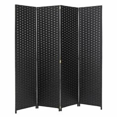 MyGift 4 Panel Hinged Room Divider, Woven Paper Rattan Privacy Screens, Black
