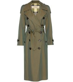 Burberry - Foxriver cotton trench coat - Burberry's signature trench coat receives a cool new update for spring. The lightweight cotton fabric is slightly iridescent in army green, letting it shimmer in the sunlight on bright spring days. Style yours over nearly anything in your wardrobe. seen @ www.mytheresa.com
