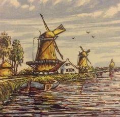 Amsterdam Holland 6x6 Trivet Windmill Seagulls Rowboat Water Marked G