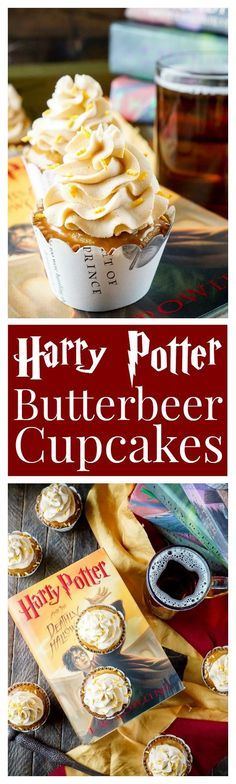 These Harry Potter Butterbeer Cupcakes are AMAZING and will cast a spell on your taste buds and leave you in a state of geeky bliss!>>>> If one of those cupcakes falls over its going to get icing all over that book😒. Food Cakes, Cupcake Cakes, Beer Cupcakes, Birthday Cupcakes, Cup Cakes, Sweets Cake, Fun Cupcakes, Yummy Treats, Sweet Treats