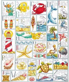 Design Works Ocean ABC - Counted Cross Stitch Kit. Cross Stitch Kit contains 100% cotton 14 count Aida, embroidery floss, needle and instructions. 16 x 20.