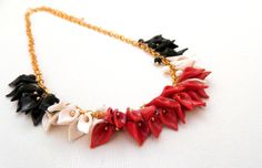 Calla lily  Minimal necklace  Red black white  by insoujewelry