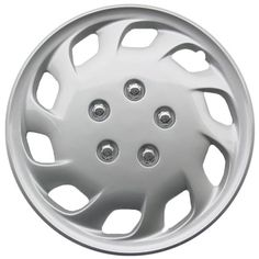 Design Silver ABS Plastic 15-Inch Hub Caps (Set of 4)