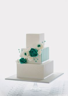 Teal & White Wedding Cake by Sweet Love Cake Couture  |  TheCakeBlog.com