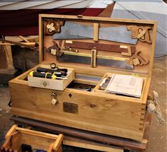 After 12 weeks on a joinery course our students make their own dovetail tool box. This fine example includes multiple tool trays and fitted storage for key tools. Career Change, 12 Weeks, Wooden Boats, Boat Building, Portsmouth, Toolbox, Joinery, Trays, Workshop