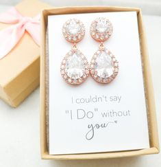 Bridesmaid Drop Earrings in Rose Gold