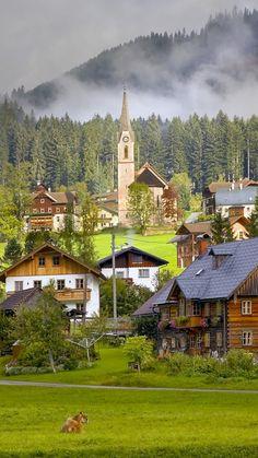 download wallpaper 1080x1920 austria gosau village houses cows sony xperia z1