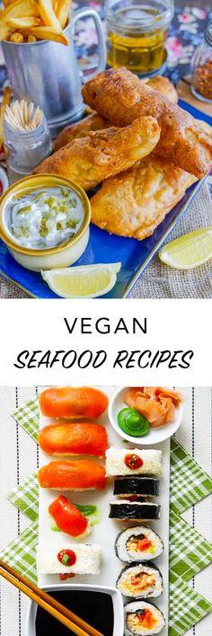 Looking for vegan #seafood recipes or plant-based #fish alternatives? Here's vegan recipes to make #vegan fish, lobster rolls & scallops! Delicious Vegan Recipes, Raw Food Recipes, Seafood Recipes, Healthy Recipes, Healthy Food, Vegan Sushi, Vegan Snacks, Vegan Dinners, Vegan Foods