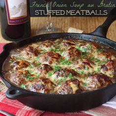 French Onion Soup au Gratin Stuffed Meatballs