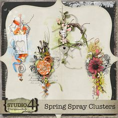 Here is a set of 4 Spray Cluster Overlays. Each with their own style and colour, they're a great to start any scrap page. Create a card, announcement, put on a calendar - they have so many uses. Each one is a 300 dpi png file. PU/S4O/S4H. Shadows are for