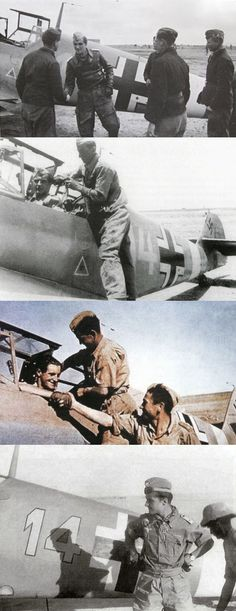 """undnichtsmehr: """" Various pictures of Marseille and his Messerchmitt BF 109. """""""