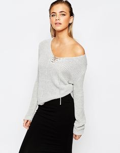 Boohoo Lace Up Knitted Jumper