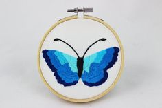 embroidery hoop picture hoop art butterfly handembroidery blue insect hand by NeedleTwiddle on Etsy