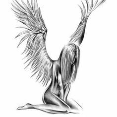 Tattoos for women Angel Tattoo For Women, Fallen Angel Tattoo, Guardian Angel Tattoo, Tattoos For Women, Engel Tattoos, Bild Tattoos, Tattoo Drawings, Body Art Tattoos, Skull Tattoos