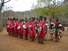 Swazis dancing in a cultural village show.