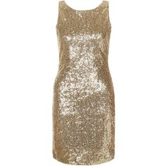 Amalie & Amber Gold Sequin Sleeveless Dress ($52) ❤ liked on Polyvore featuring dresses, gold, bodycon party dresses, sequin cocktail dresses, mini dress, brown cocktail dress and gold sequin dress