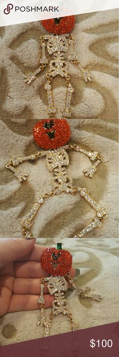 """Halloween ~ Articulated Skeleton & Pumpkin Pin Kirk's Folly,  Vintage, A magnificent & complete skeleton which if fully articulated. Every portion of this skeleton is jointed for movement.  The body is covered in clear Austrian crystals. The """"head"""" of this broach is a jack-o-lantern which is also covered in orange  Austrian crystals.  Excellent condition.  Incredibly special broach. Collectors piece. Priced firm. Kirk's Folly  Jewelry Brooches"""