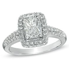 1 CT. T.W. Composite Emerald-Cut Diamond Frame Engagement Ring in 14K White Gold