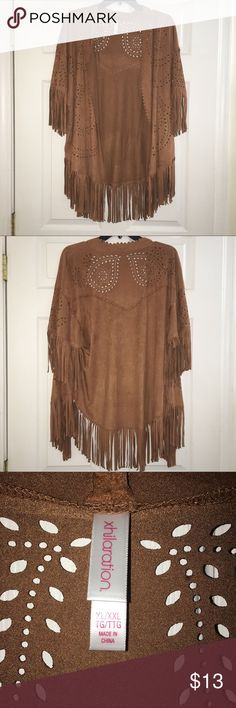 ✨ NEVER WORN Faux suede fringe kimono ✨ 🌟 PLEASE REFER TO THE PICTURES, LET ME KNOW IF YOU HAVE ANY QUESTIONS & OFFERS WANTED! ❤️💋 Xhilaration Sweaters Cardigans