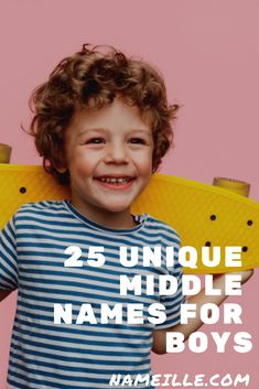 Your job is almost finished youve got the first name but you still need to pick a middle name to match. Here are 25 unique middle names for boys to inspire you! Boy Middle Names Unique, Baby Boy Middle Names, Interesting Boy Names, Unusual Boy Names, Baby Girl Names, E Boy Names, Interesting Stuff, Boys Names Rare, Names For Boys List
