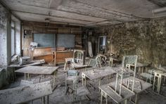 Lost Classroom by Niki Feijen. Abandoned classroom in Pripyat, Chernobyl Exclusion Zone 2010.