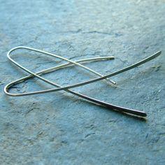 Long Silver Hoop Earrings Sterling Silver Extra Long Open Hoops modern eco friendly minimalist jewelry