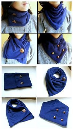 """diychristmascrafts: """"DIY Neck Warmer Done 4 Ways Tutorial from Instructables' User Muhaiminah Faiz. This DIY Neck Warmer is a sewed fleece rectangle with the buttons sewed in a different place for every version. This is definitely a good tutorial for. Diy Clothing, Sewing Clothes, Clothing Patterns, Sewing Patterns, Fleece Crafts, Fleece Projects, Moda Fashion, Diy Fashion, Sewing Scarves"""