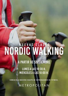 Nuevas clases #Nordicwalking en Metropolitan Vigo.  Esta actividad de resistencia al aire libre consiste en caminar con la ayuda de bastones similares a los de esquí.  Os esperamos los lunes a las 19:30 h. y los miércoles a las 10:00 h.  Consulta tus dudas con nuestro equipo de Entrenadores de #Fitness.