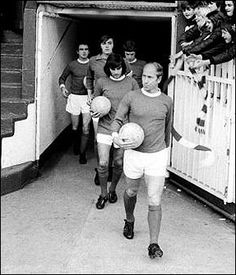 Bobby Charlton leads out United at Old Trafford