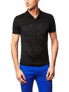 Mesh and Cotton Polo by Versace Collection