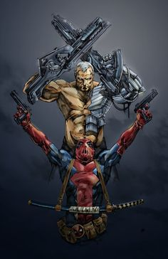 Cable and Deadpool. They both first appeared in Volume 1 of the New Mutants. They both have been in X-Force at one time or another. And they even shared a series called Deadpool and Cable Marvel Comics, Hq Marvel, Arte Dc Comics, Marvel Heroes, Anime Comics, Comic Book Characters, Comic Book Heroes, Marvel Characters, Comic Character