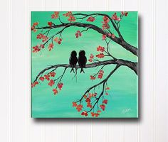 Original Canvas Painting Love Bird Painting Mint and Coral Wedding Gift for Couple Love Birds Anniversary Gift Love Teal Painting Wall Decor on Etsy, $55.00